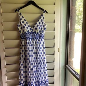 Blue & white maxi dress